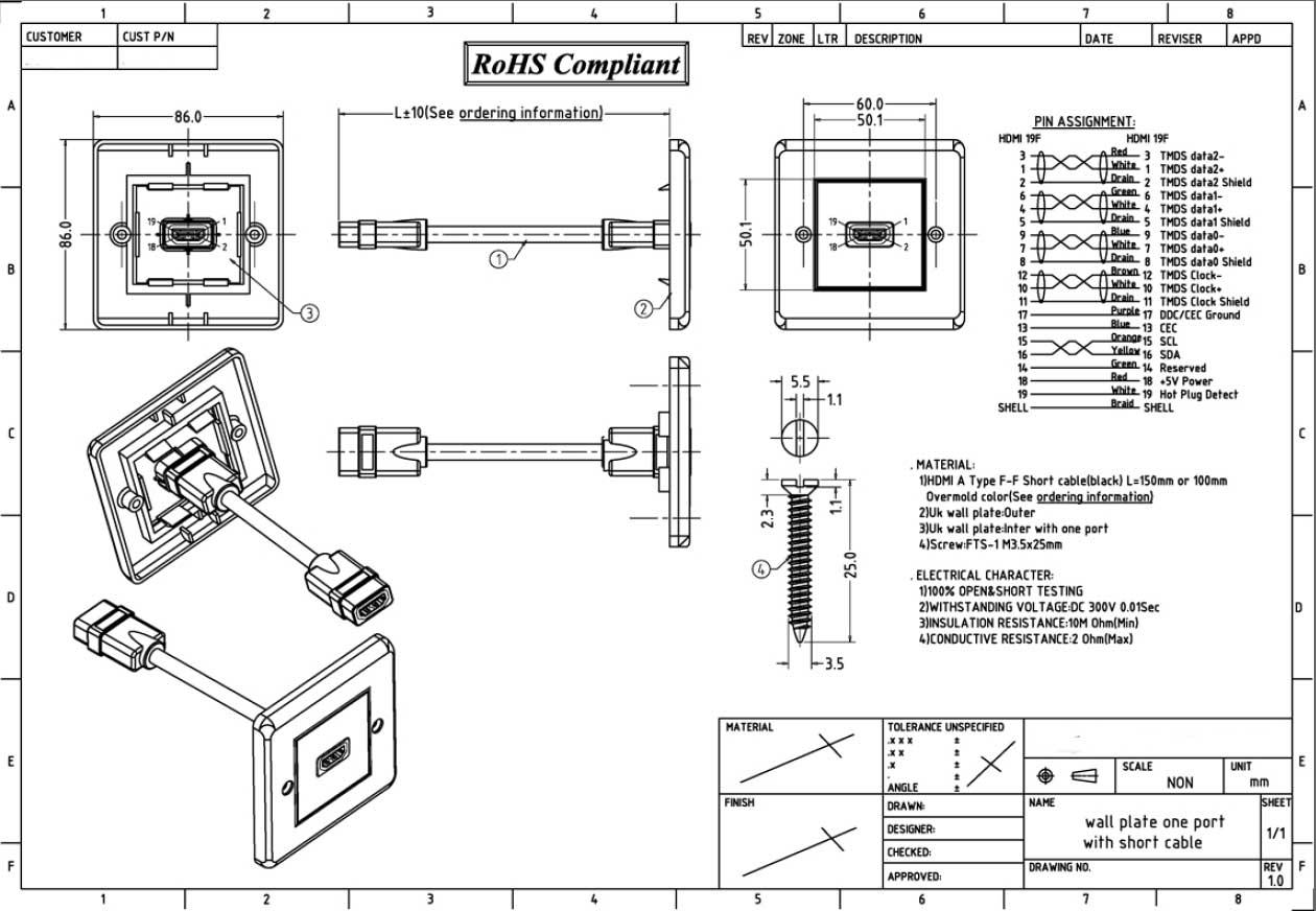hdmi wanddose unterputz 1 x hdmi buchse eu type audio video. Black Bedroom Furniture Sets. Home Design Ideas