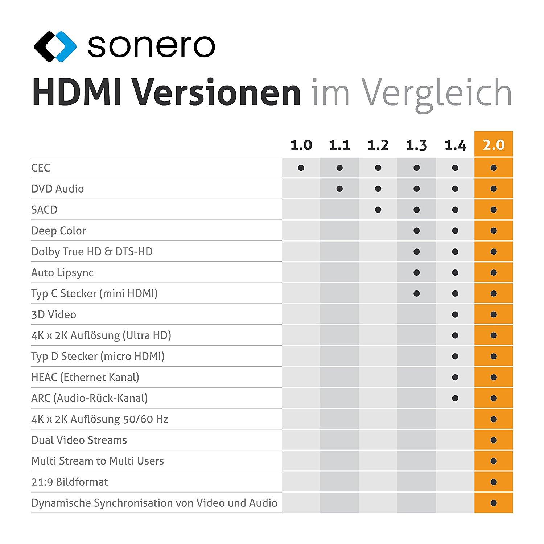 Audio Rückkanal 2m Mini HDMI Kabel 2* Mini C Stecker 2160P FULLHD Ethernet
