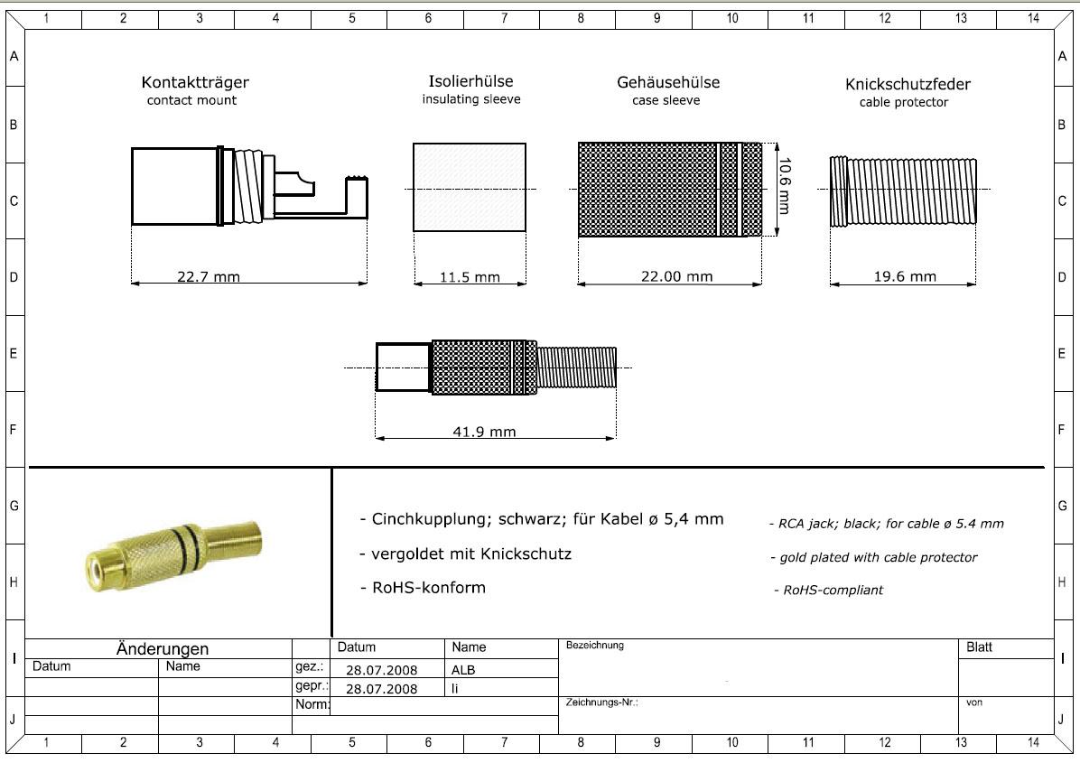 Klinkenstecker Stereo 3,5mm Knickschutz kantig Lötanschluss 5 Stück