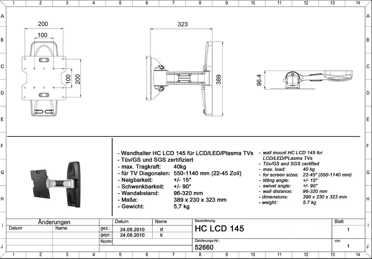 Bild 2   Clicktronic HC LCD 145 Full Motion TV Wandhalter Bis 114 Cm/