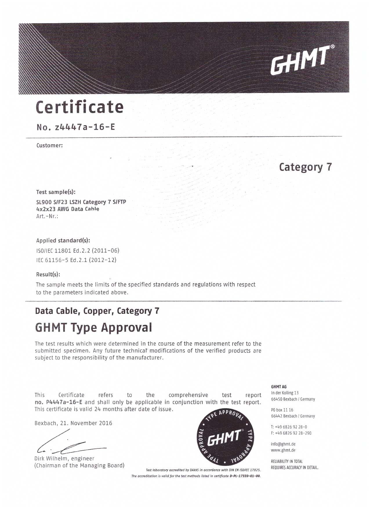 Kab24® CAT7 Verlegekabel GHMT zertifiziert orange 10 GBit/s AWG 23 ...