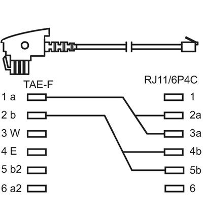 TAE-F Anschlusskabel 3 m auf RJ11 (6P4C) Stecker Universalbelegung ...