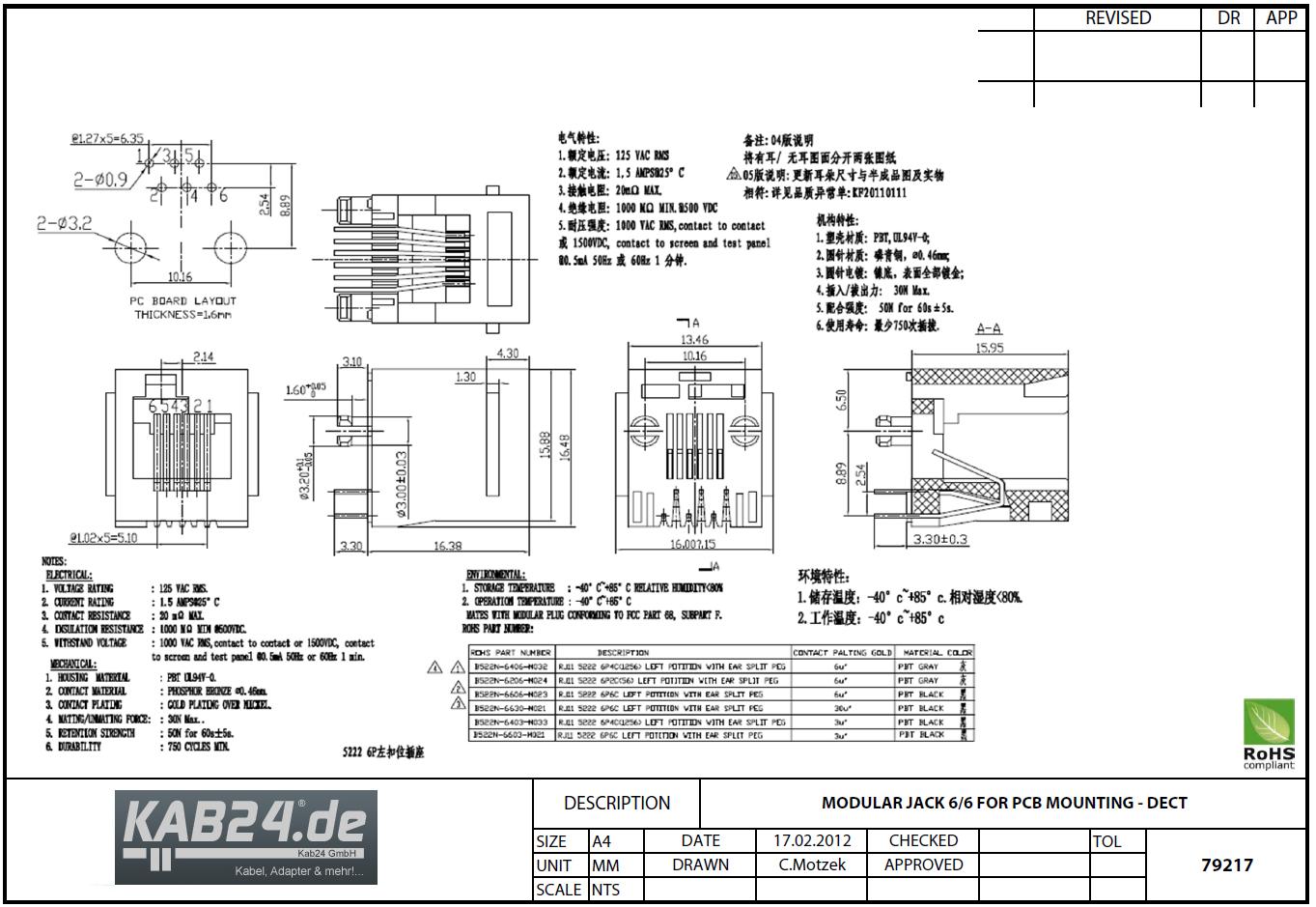 Modular Einbaubuchse RJ12 DEC Kupplung mit versetzter Rastnase ...