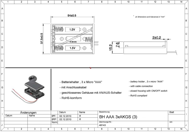 Batteriehalter 3 x Micro AAA geschlossenes Gehäuse mit Schalter ...
