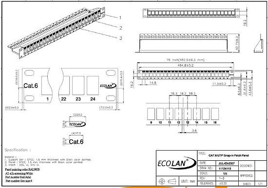 patchpanel cat 6 19 zoll    1he modular keystone jack