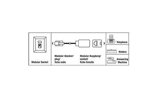 Kab24® Modularverlängerung 6-adrig Rj12 Stecker auf RJ12 Buchse ...