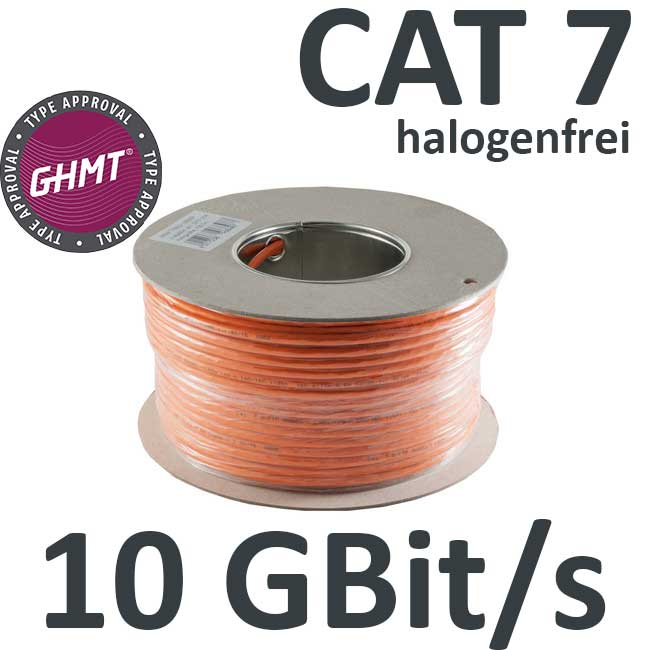 Kab24® CAT7 Verlegekabel GHMT zertifiziert orange 10 GBit/s AWG 23 ...