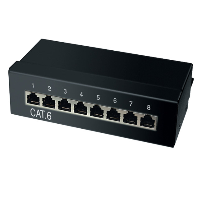 cat5e mini desktop patchpanel 8 port geschirmt netzwerk. Black Bedroom Furniture Sets. Home Design Ideas