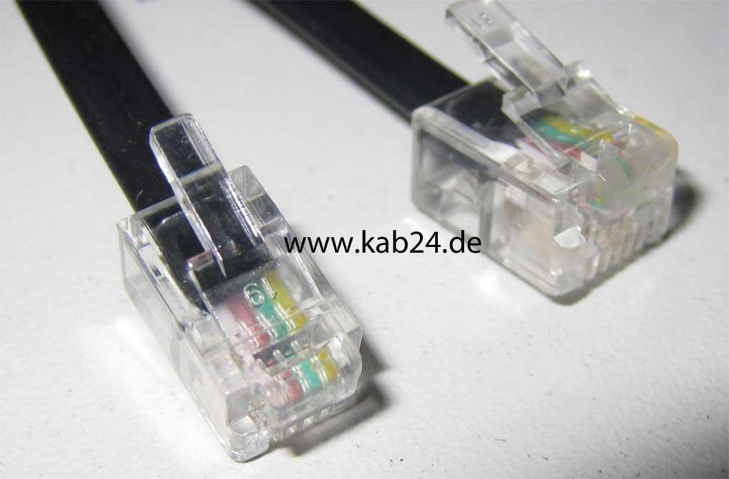 flach und schwarz Kabel: 4-adrig -Buchse Belegung: 1:1 -Stecker 4p4c RJ10 5,00 m Modular-Verl/ängerungskabel 4p4c RJ10