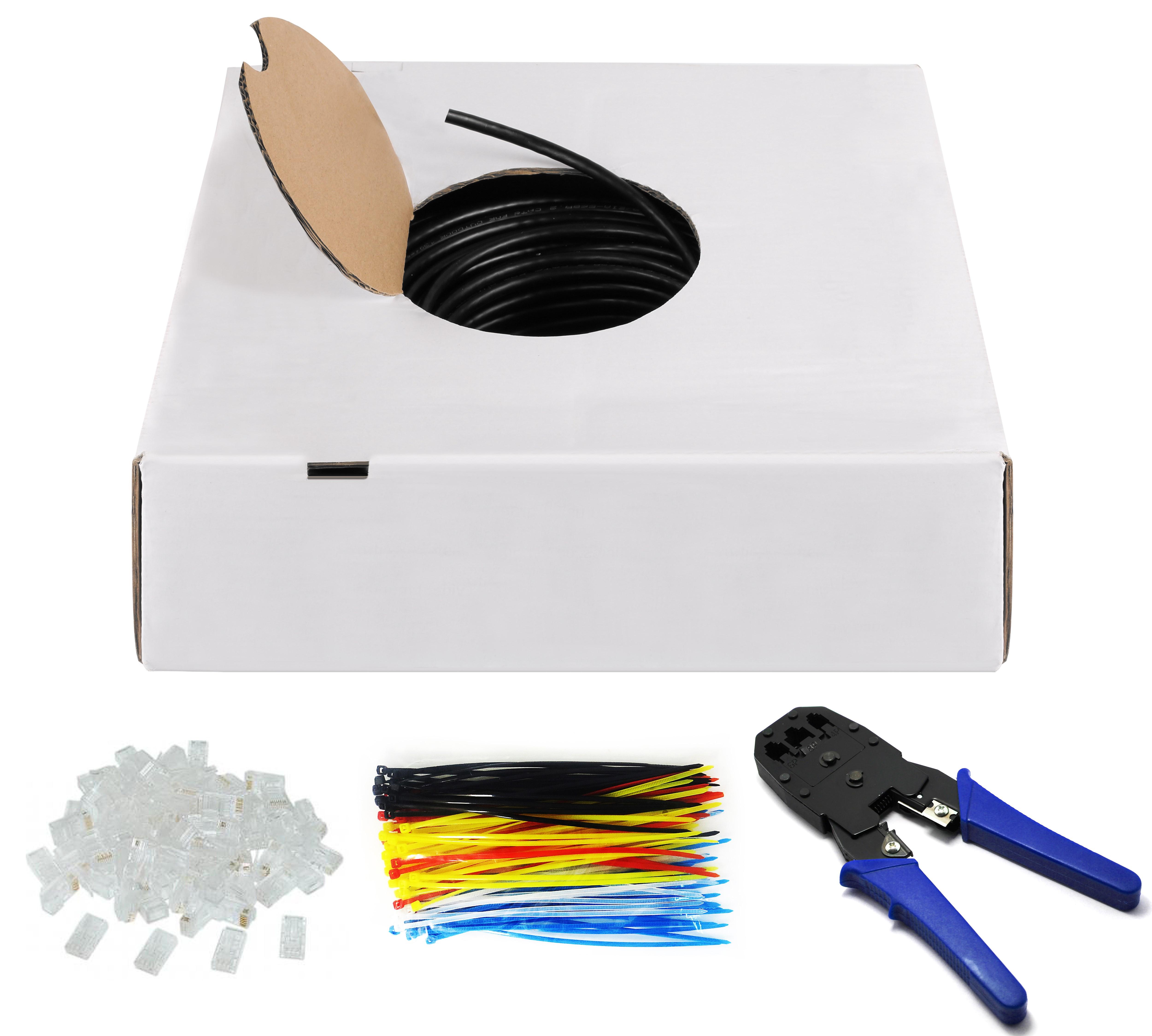 Kab24® CAT 6 Outdoor Netzwerkkabel-Set 100m U/UTP UV und ...