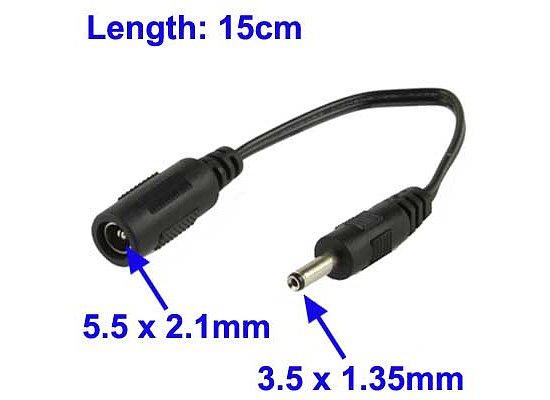 2 Stück Gleichstrom Stecker Buchse 1,35 mm x 3,5 mm Stecker für Laptop