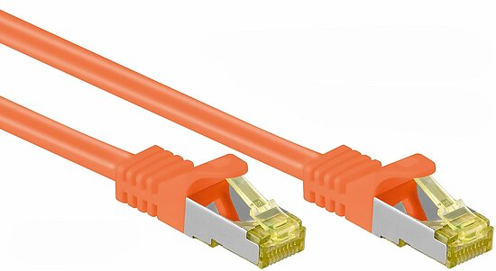 Kab24® RJ45 Patchkabel orange Netzwerkkabel Computerkabel CAT 7 Rohkabel 600 MHz Halogenfrei 10 GBit/s reines Kupfer