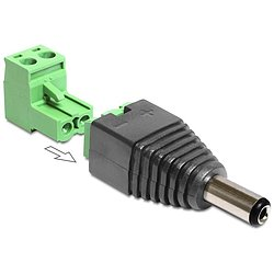 Delock® DC 2,5 x 5,5 mm Stecker > Terminalblock 2 Pin
