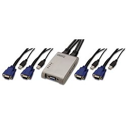DIGITUS DS-12200 Pocket KVM Switch für USB Tastatur / Maus VGA Monitor, 4-Port