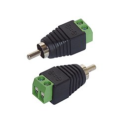 2er-Set Cinch/RCA-Stecker auf 2 Pin-Terminalblock (Lüsterklemme)