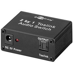 Toslink Audio Switch 2 IN/1 OUT inkl. Netzteil 5V 1A