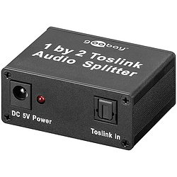 TOSLINK AUDIO Splitter 1in/2out inkl. Netzteil 5V 1A
