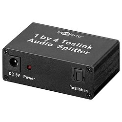 TOSLINK AUDIO Splitter 1in/4out inkl. Netzteil 5V 1A